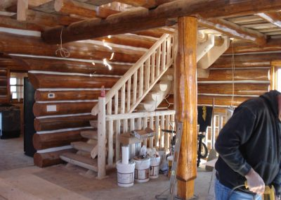 round log cabin interior