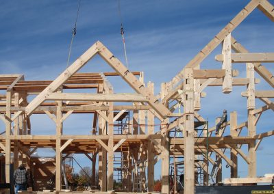 setting timber frame with a crane