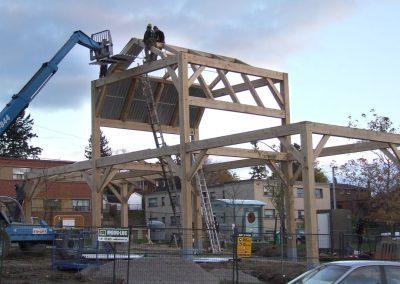 men building large commercial timber frame