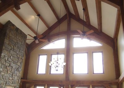 two story timber frame living room