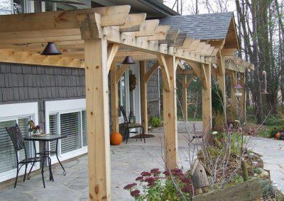 timber frame pergola on back patio