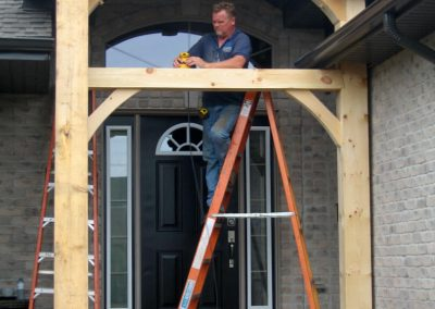 timber frame covered entry way