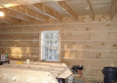 handcrafted log cabin interior
