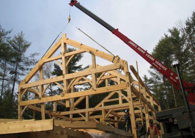 timber frame set by crane
