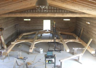 building timber frames in the shop