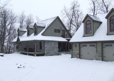 timber frame homes in snow