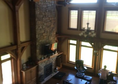 vaulted ceiling timber frame home