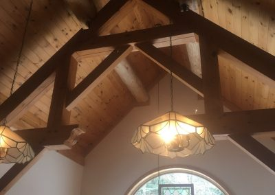 exposed timber frame ceiling